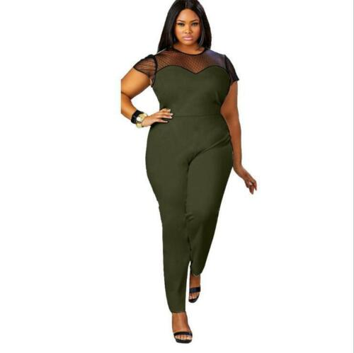 1d342b8570e Plus Size Women Lady Casual Sexy Net Jumpsuit Rompers Clubwear Bodycon  Trousers