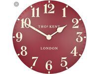 Large Thomas Kent red wall clock