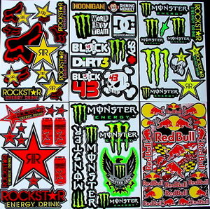 6 New Rockstar Energy Sticker Motocross MX Decals Graphic Kit Logo BMX Bike rTT
