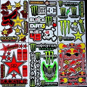 6 Sheets Stickers decal motocross MX moped BMX Bike SCOOTER Energy drink aTt