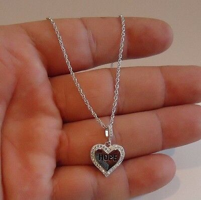 Hope Diamond Necklace -  HEART W/ WORD HOPE  PENDANT NECKLACE W/ .75 CT ACCENTS / 925 STERLING SILVER