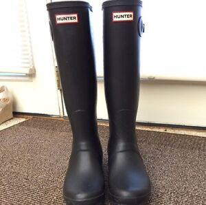 Matte black hunter boots