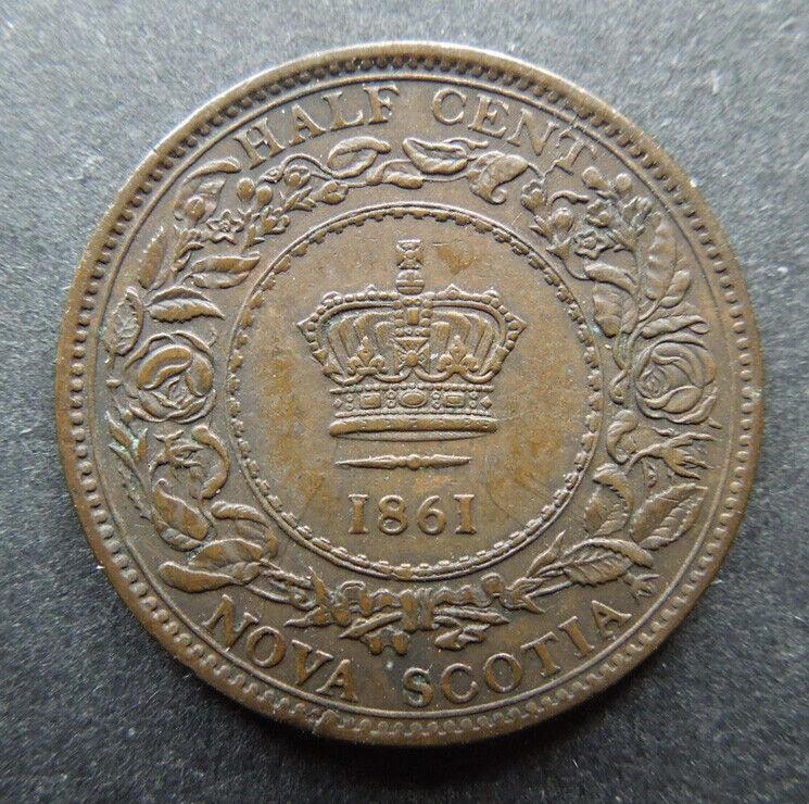 Nova Scotia Canada 1861 Queen Victoria KM#7 1/2 Half Cent Bronze Coin