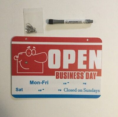 Open Closed Store Sign Will Return Clock Business Hours Dry Erase Marker Chain