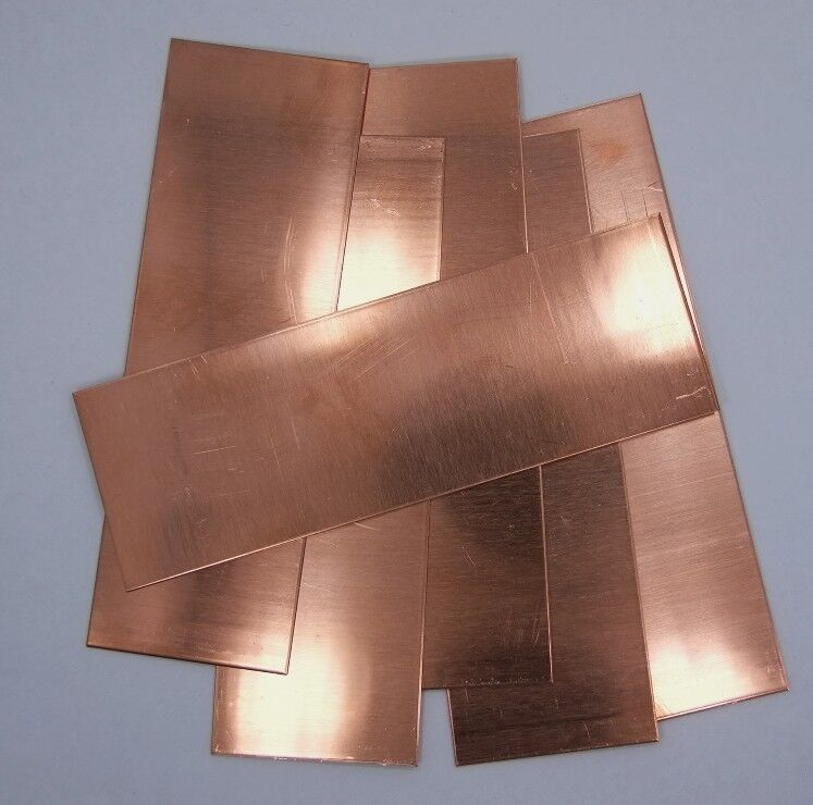 """Raw Copper Sheet, Bracelet Cuff Blanks 6"""" x 2"""" 20ga Package Of 6"""