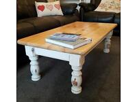 Coffee Table, Solid Pine, Antique and Wood Finish