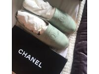 Chanel leather mint espadrilles