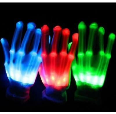 LED Light Gloves Finger Lighting Electro Rave Party Dance Skeleton Halloween