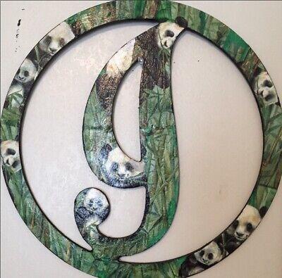 "Wooden Letter I Cursive Wreath Panda 14"""