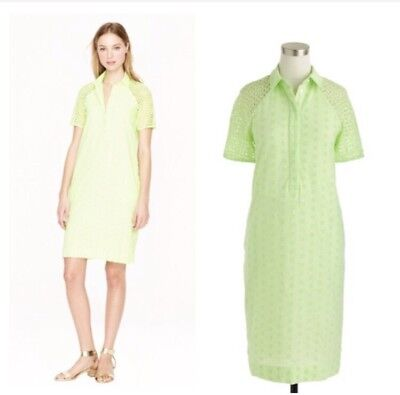 J. Crew Women's Eyelet Shirt Dress In Bright Green Size 00 Cotton for sale  San Antonio