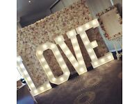 Flower Wall and Light Up Letters Hire
