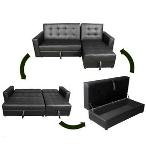 Faux Leather Sofa Bed Sectional with Storage
