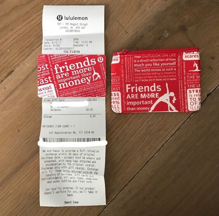 Lululemon Gift Card - £52 with receipt | in Hammersmith, London ...