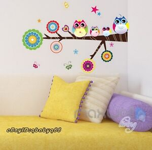 Cute-Owl-on-Tree-Branch-Wall-sticker-Removable-decals-decor-kids-nursery-mural