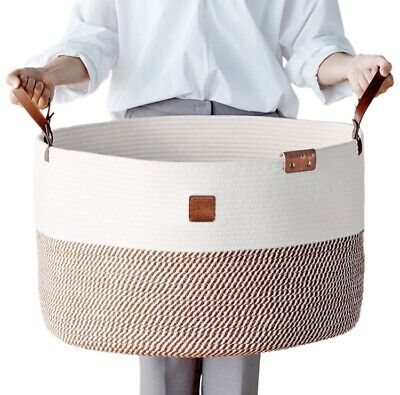"Romantic Brown XXXLarge Basket-Laundry, Toy, Organizer-21.7x21.7x13.8"" Cotton Rope"