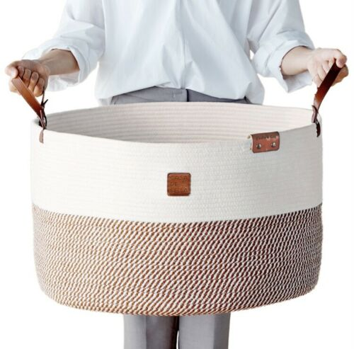 "Romantic Brown XXXLarge Basket-Laundry,Toy,Organizer-21.7x21.7x13.8"" Cotton Rope"