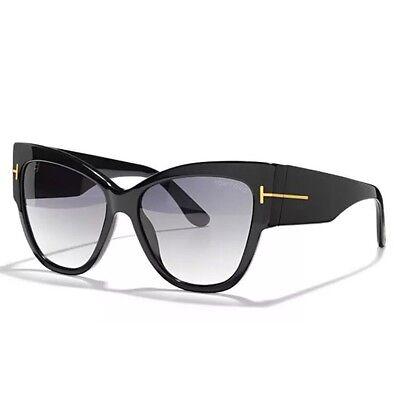 Tom Ford TF 371 Anoushka 01B Black Gold Smoke Grey Women Sunglasses CatEye Italy