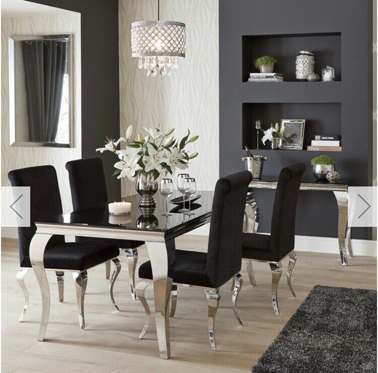 stunning black and chrome mirror dining table  chairs