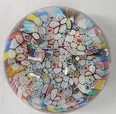 Vintage ITALY Glass Paperweight Italy Art Glass Millefiori LARGE