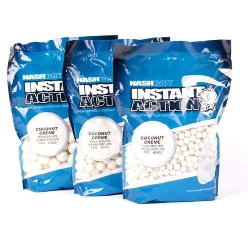 3x Nash Instant Action Cocunut Cream Boilie 1kg 20mm Karpfenangeln Carp
