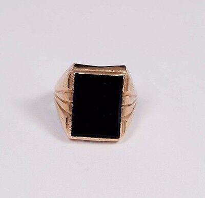 10K Yellow Gold Men's Black Onyx Ring, Size 10