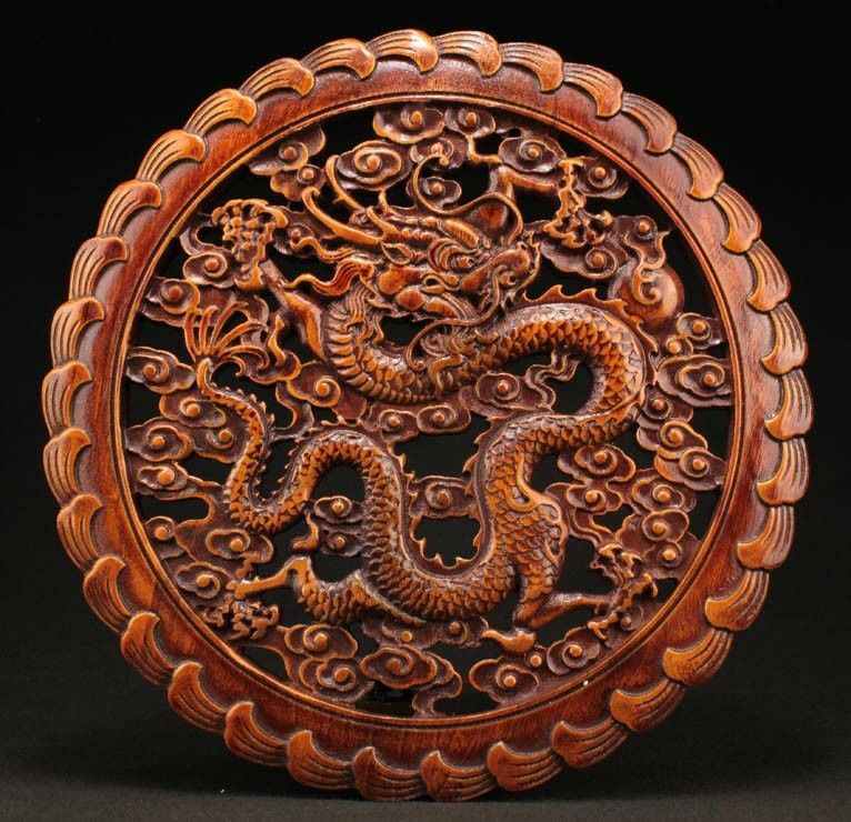CHINESE HANDWORK DRAGON STATUE CAMPHOR WOOD PLATE WALL SCULPTURE nnn