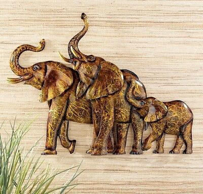 - Elephant Family African Safari Dimensional Metal Wall Art Hanging Home Decor