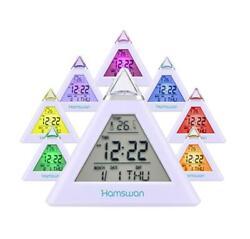 LED Digital Alarm Clock Snooze Calendar Thermometer Weather Color Display US
