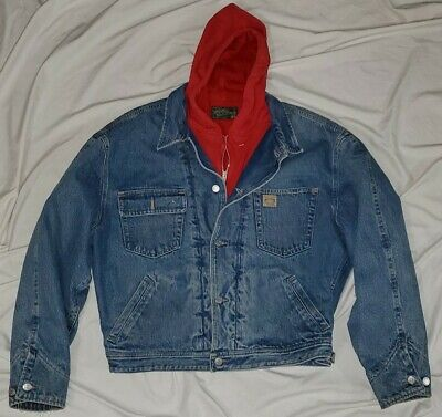 Polo Ralph Lauren Country Red Hooded Denim Trucker Jacket Coat rrl XL