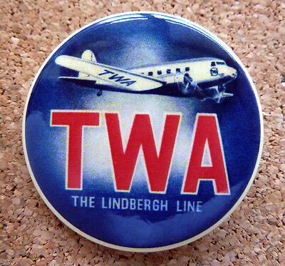 1950s TWA Airline Design ~ Button Pin Back Airplane Modernist Mid-Century  (#3)