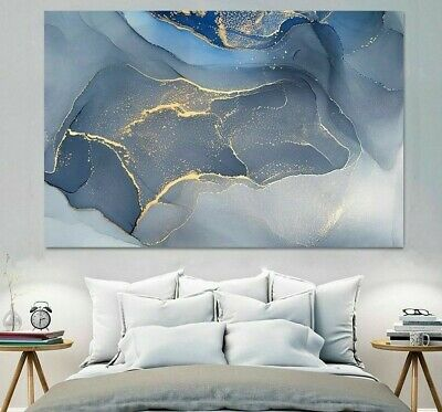 Marble Texture Abstract Poster Gold Blue Wall Art Print Canvas Ink Home Decors