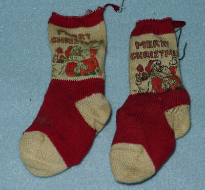 Pair of Anitque Vintage Miniature Christmas STOCKINGS, Old 30's or 40's, Santa ()