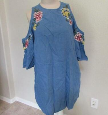 ZARA TRAFALUC Lrg chambray denim floral embroidered beaded dress cold shoulder