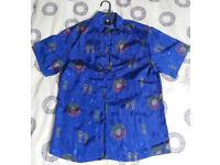 Chinese Blue Short Sleeve Silk Shirt (Medium/Small size)