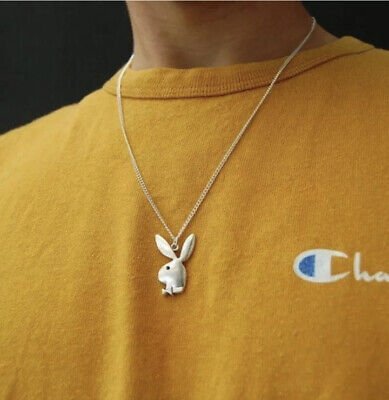 Playboy Bunny Silver Logo Necklace Charm Stainless Steel Streetwear Pendant New