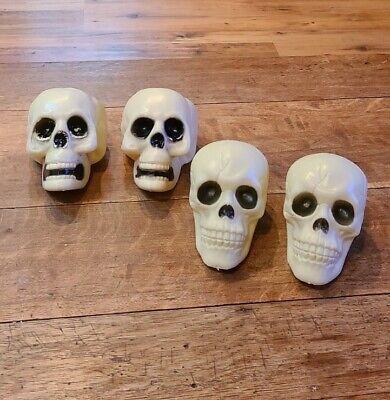 Lot of 4 Vintage Blow Mold Halloween Skulls Skeleton Decorations