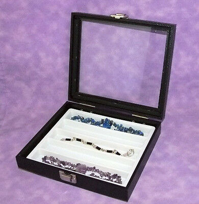 Necklacebracelet Glass Top Jewelry Display Case Wht