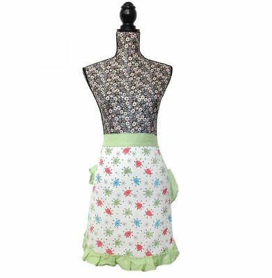VINTAGE RETRO STYLE 50'S INSPIRED GREEN PINNY COOKING WAIST KITCHEN APRON