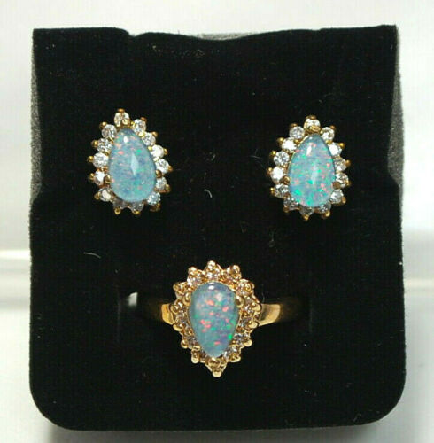 Opal Triplet Ring & Earrings Gold-tone Set S8894