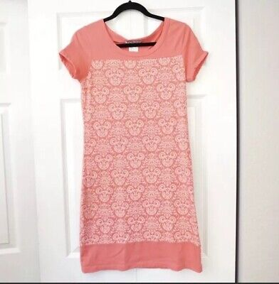 Disney Parks Womans Coral Mickey Mouse Printed Shift Summer Dress Size Small](Mickey Mouse Dress For Women)
