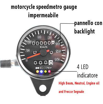 TACHIMETRO MOTO UNIVERSALE CONTACHILOMETRI 4 INDICATORE LED SPEED GAUGE 60MM NEW