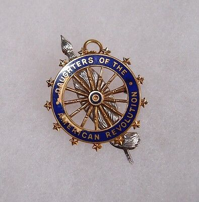 Antique Daughters of the American Revolution DAR 14k Gold Pin Broach Medal