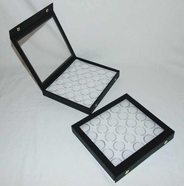 2 Pack Gem Storage Attached Top Cases 25 Jars White Foam