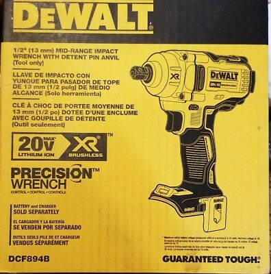 DeWALT DCF894B 20V MAX* XR® 1/2 IN. MID-RANGE      IMPACT WRENCH ONLY