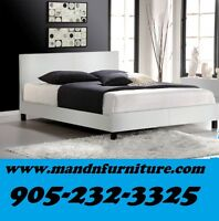 NO TAX White Faux Leathre Bed Single Double or Queen $199.00