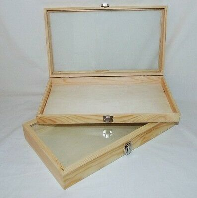 Natural Wood Glass Top Display Cases Package Of 2