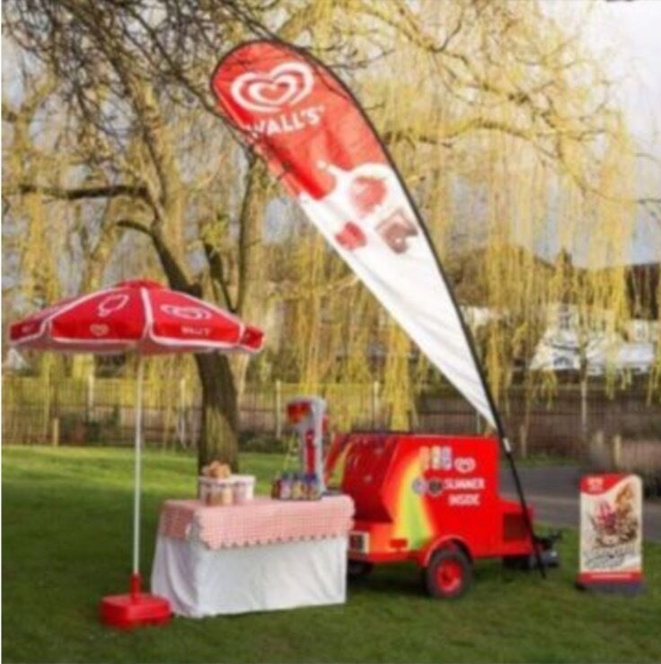 Ice Cream trailer with a lisence to trade in a busy park