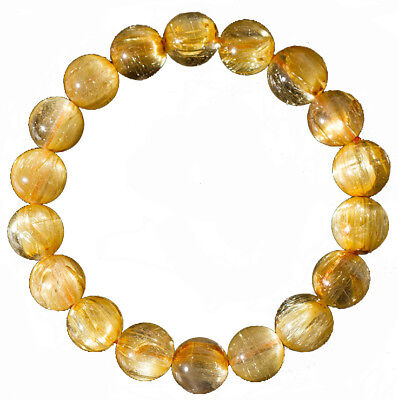 Natural Golden Hair Rutilated Quartz Crystal Bracelet Energy Healing Jewelry