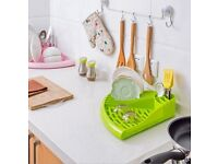 Triangle Dish Drainer Rack Tray Utensil Cutlery Kitchen Plate Holder Plastic- 4 Colours