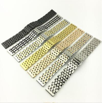 Metal Polished Watch Band - Curved Stainless Steel Polished Metal Clasp Replacement Watch Band Strap 20/22mm